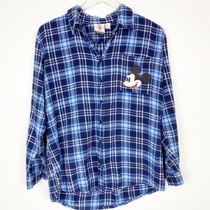 Forever 21 blue plaid Mickey & Co flannel shirt M